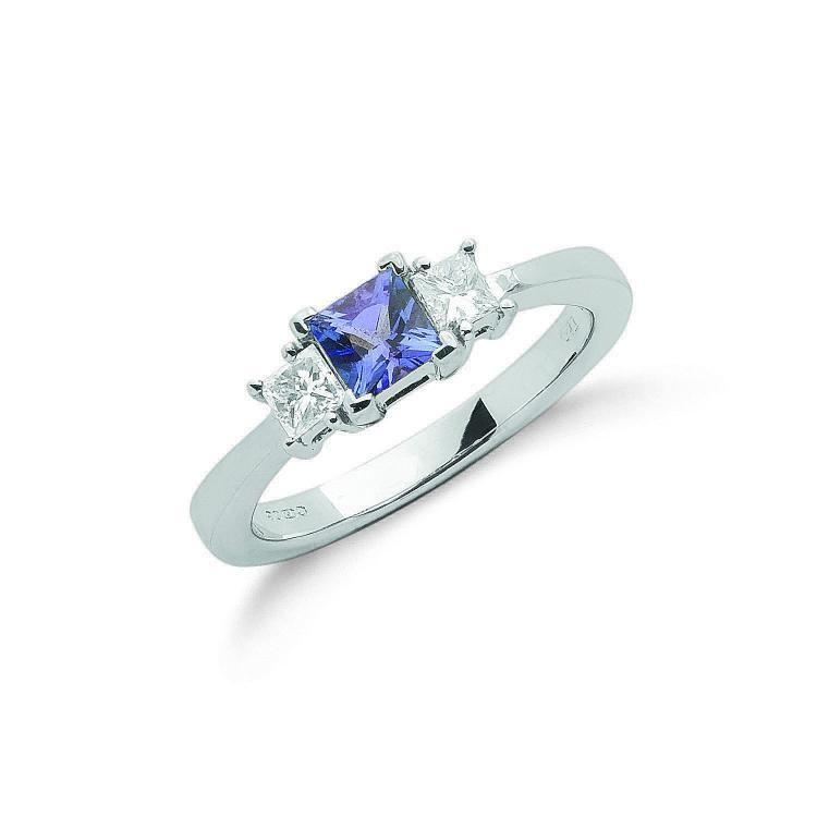 Square Cut Blue Diamond Ring